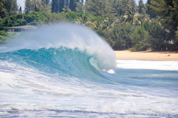 Waves breaking on the shore of Maui