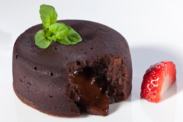 Chocolate fondant with strawberry