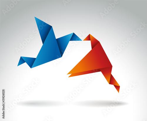 Deurstickers Geometrische dieren Paper Kiss, Origami symbolic vector illustration.