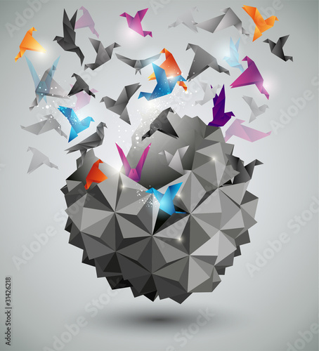 Fridge magnet Paper Freedom, Origami abstract vector illustration.