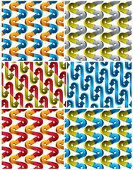 3d arrows seamless patterns set.