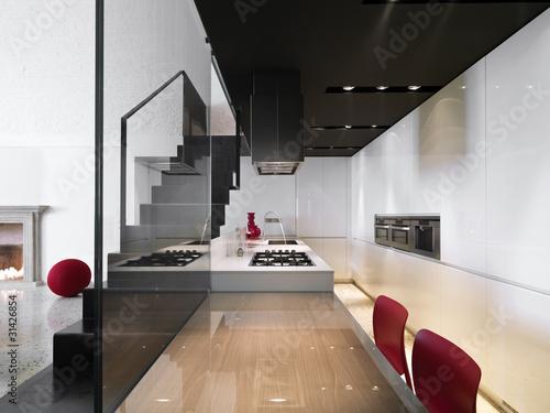 Foto: cucina moderna con scala in ferro a vista