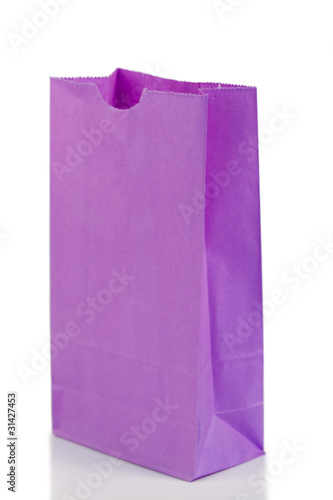 Angled purple paper bag