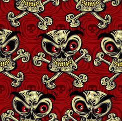 Crazy skulls seamless pattern.