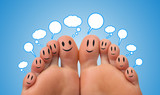 Happy group of finger smileys with social network sign