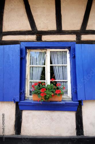 Finestra con persiane blu di una casa di campagna stock for Persiane di campagna esterne