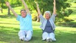 Mature couple doing their stretches