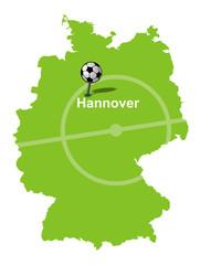 Fußballstadt Hannover Deutschlandkarte