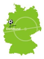 Fußballstadt Dortmund Deutschlandkarte
