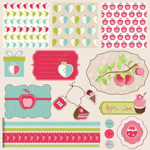 Design Elements for Baby scrapbook with apples - easy to edit