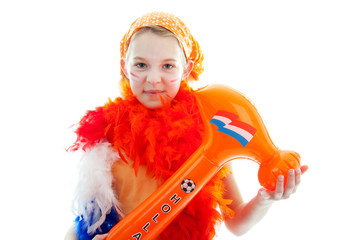 Girl posing with blow up orange hammer for Dutch soccer game