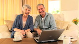 Retired couple happy at having used their laptop successfully
