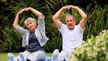 Couple practising oriental exercises in garden