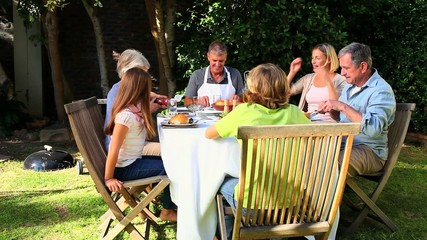 Family meal in garden