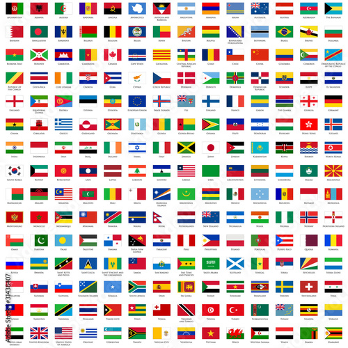 alphabetically sorted flags of the world - 31438407