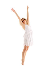 teen girl dancer isolated on white