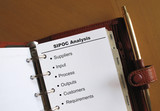 Business concepts SIPOC Analysis in a personal organizer