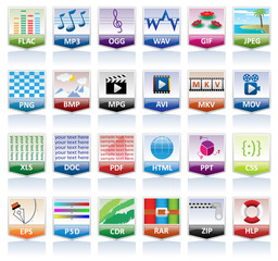 Document icons set (file extension)