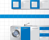 Modular Kitchen in Blue and Silver - Vector Illustration poster