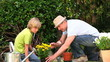 Father gardening with his son