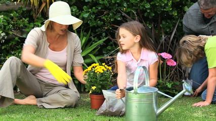 Family doing some gardening