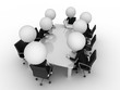 3d rendering of a group of little guys - conference table