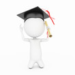 3d rendered little guy with graduation hat