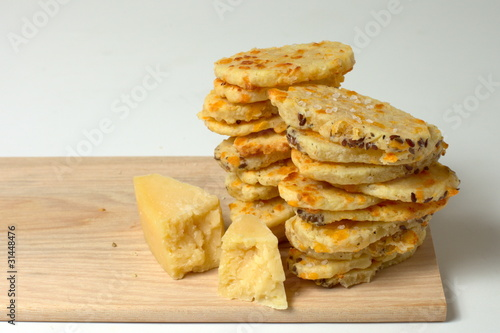 Homemade crackers with parmesan cheese