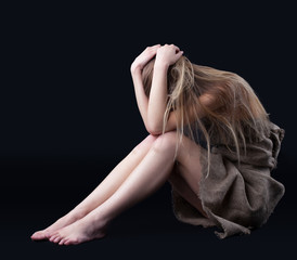 Beauty girl close head in depression