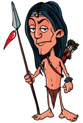 Cartoon Indian with a spear