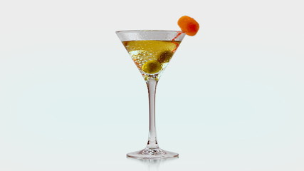 Rotating cocktail with olives. Isolated. Matte included.