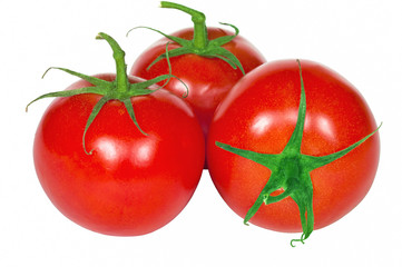 Three fresh tomatoes isolated on the white background.