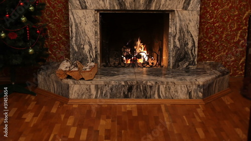 Fireplace during holiday