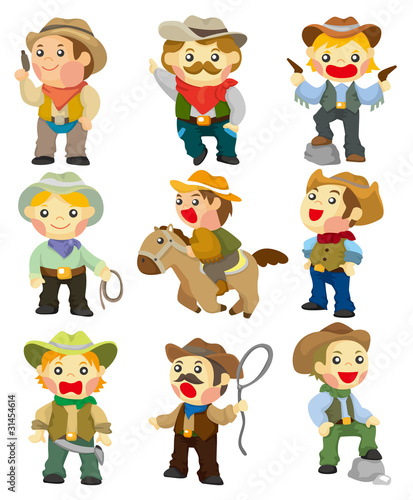 Keuken foto achterwand Wild West cartoon cowboy icon