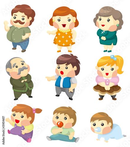 Family Cartoon of 7 Cartoon Family Icon