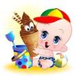 Bambino Neonato al Mare con Gelato-Baby with Ice Cream-Vector