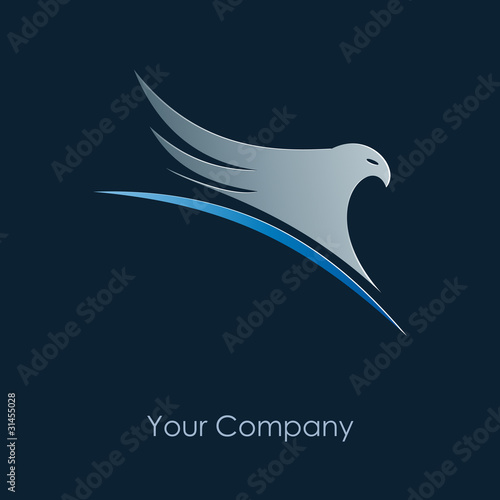 Logo eagle on the world, blue background # Vector