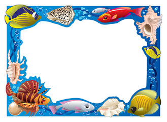 Decorative frame with tropical fishes and seashells, vector