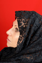 Lady with lace veil