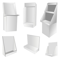 new set of 6 white display. vector illustration