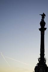 Christopher Columbus pointing to the sky