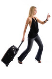 young woman running late for her plane