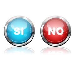 Botones futuristas texto SI y NO
