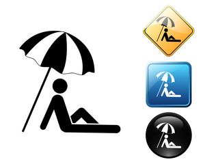 Parasol pictogram and signs