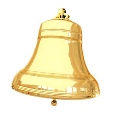 Isolated 3d shiny golden bell