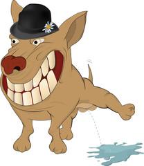 Very cheerful dog. Cartoon