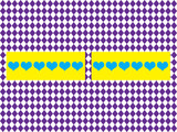 The symmetry purple ormament with blue hearts poster