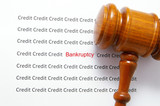bad credit text( bankruptcy ) and legal gavel poster