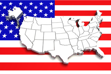 USA map on flag. 3d