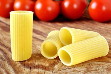 Italian rigatoni pasta with tomatoes